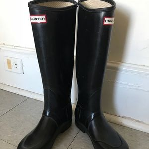 Hunter black Rain Boots size 5 women's